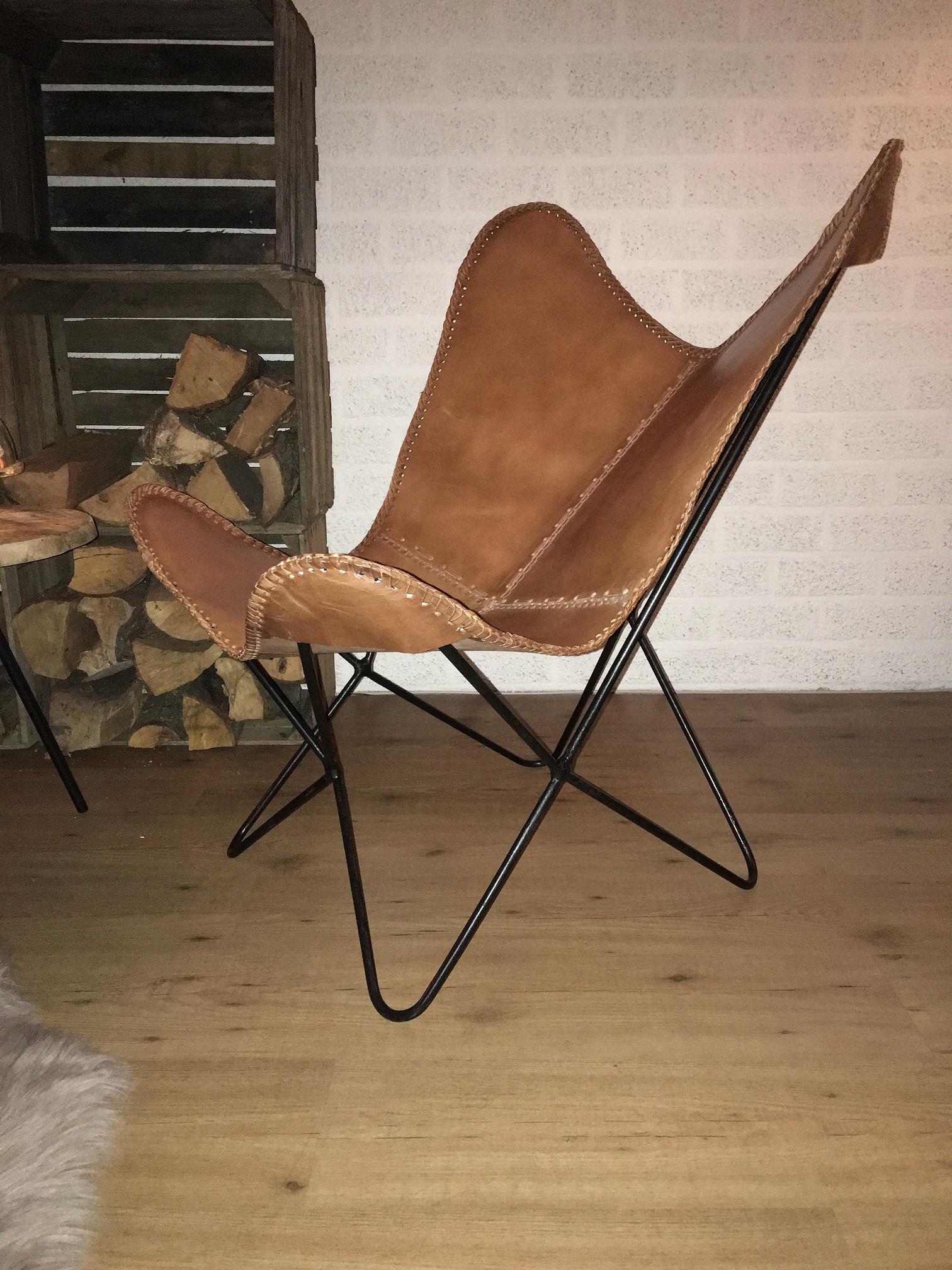... Butterfly Chair   Vlinderstoel   Leder   Darkbrown