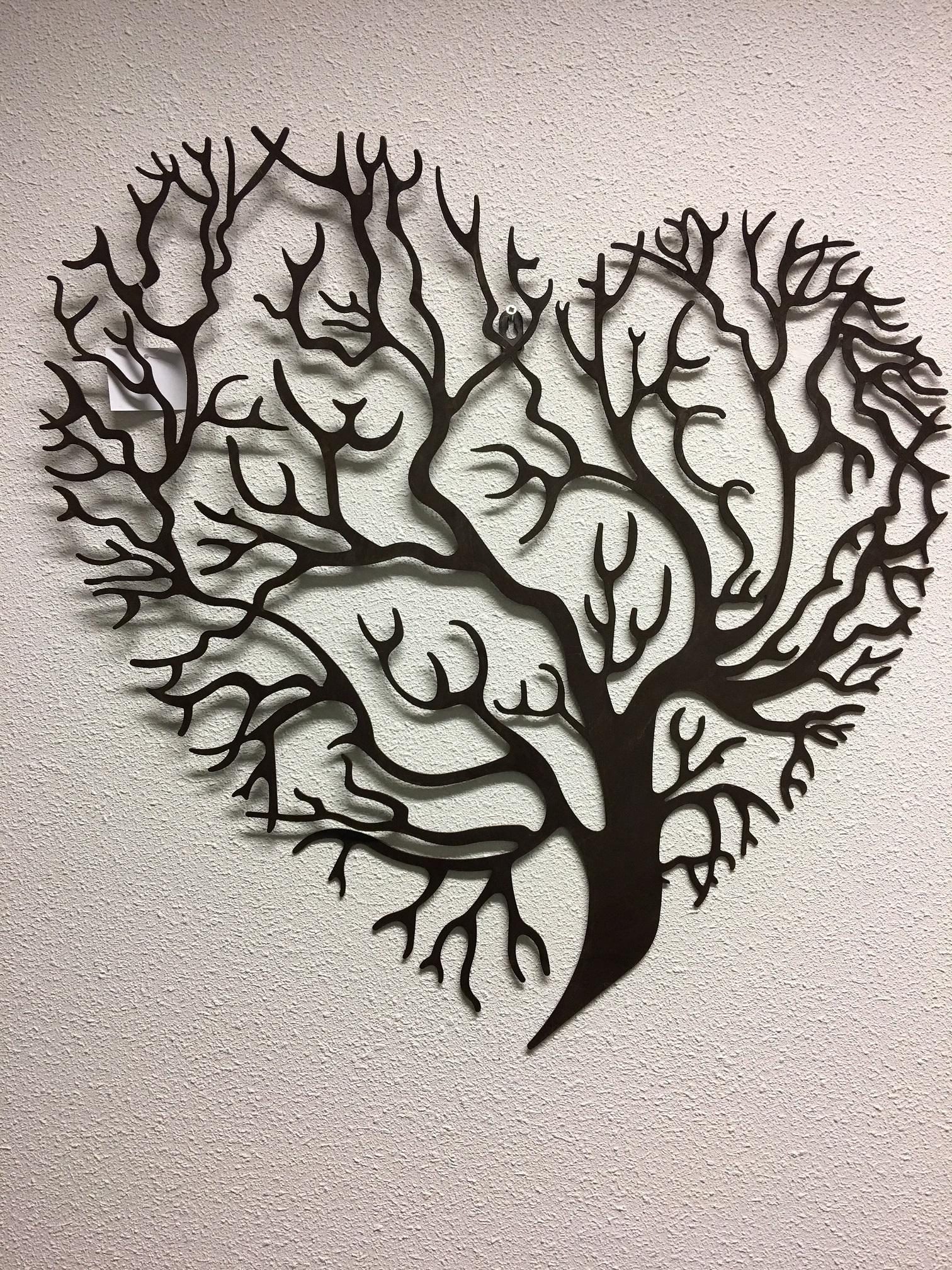 Prachtige levensboom in hartvorm, wandornament, metaal bruin ...