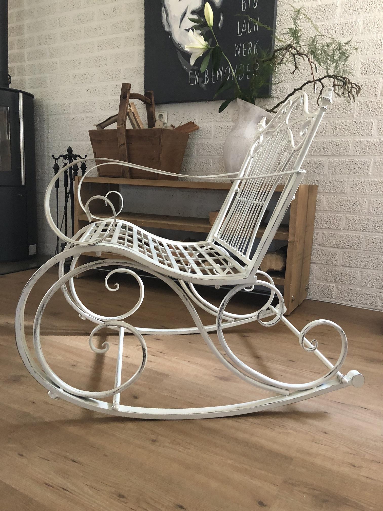 Super Prachtige pitoreske schommelstoel, smeedijzer, kleur oldwhite/rust KR-13
