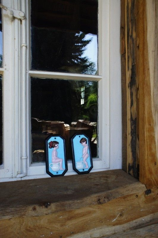 Set van tekens voor de wc deur gietijzer geschilderd man vrouw handgemaakt eu for Huis voor na exterieur renovaties