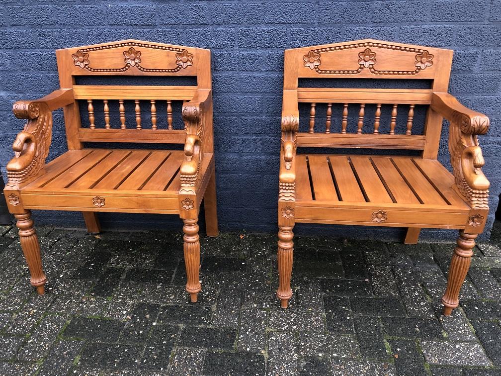 Antieke set stoelen handgemaakt mooi houtsnijwerk koloniaal hout