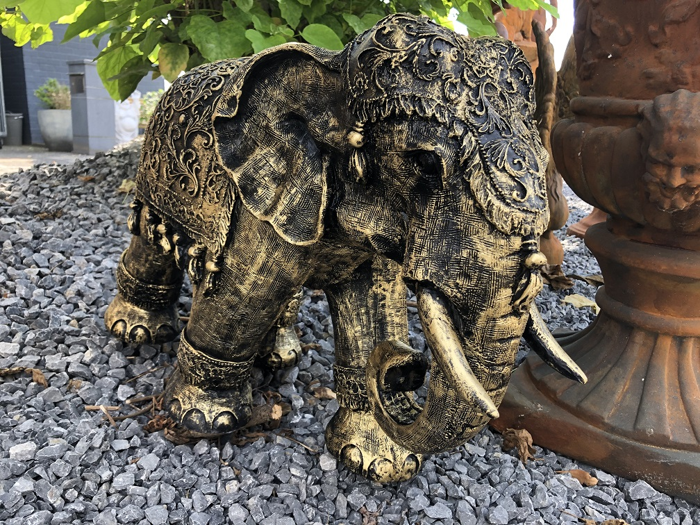 Olifant India, decoratie, cultuur, Azië, standbeeld, vintage, traditioneel, polystone gold-black