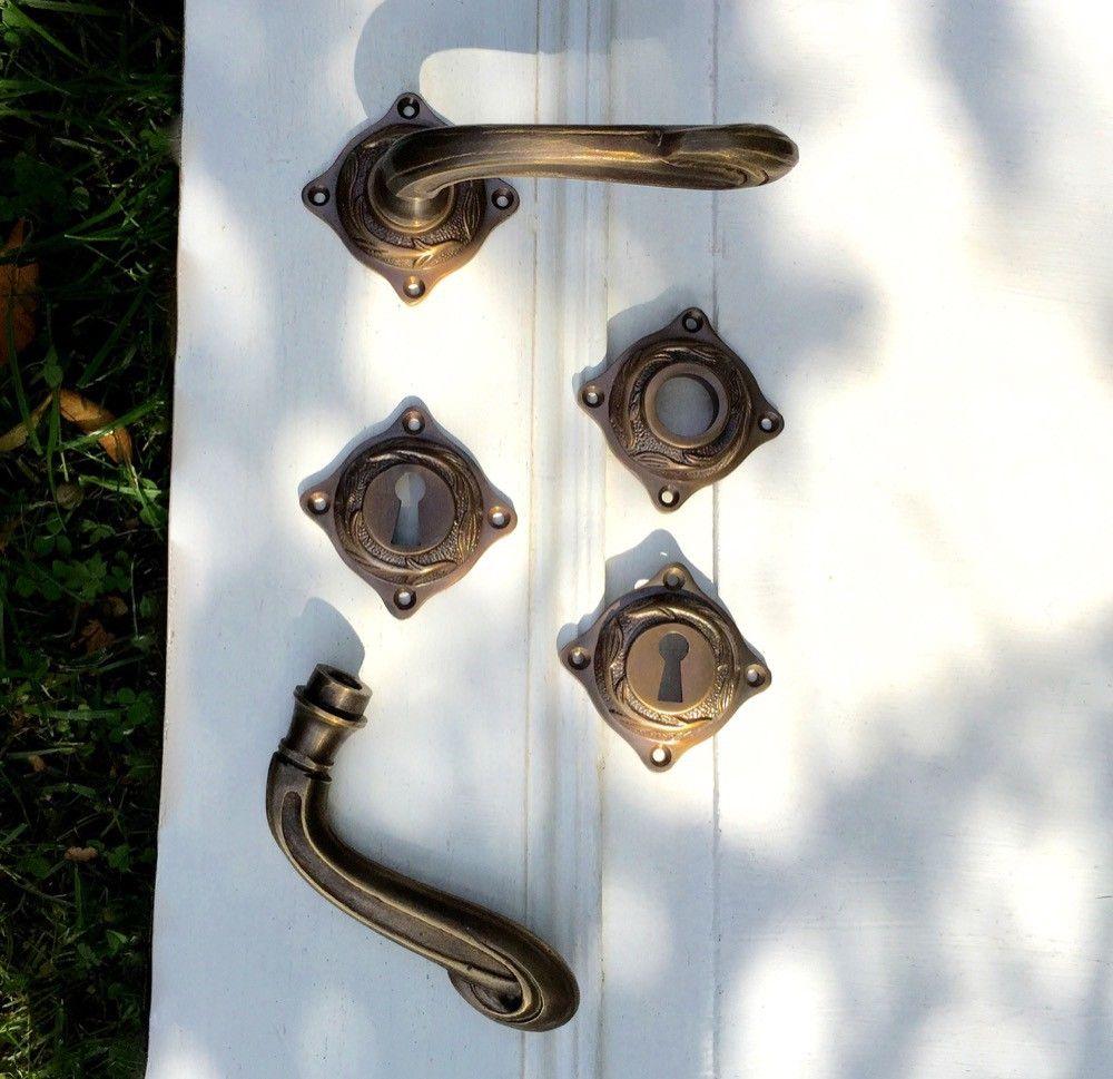 Deurklinken art nouveau, voor binnendeuren   rozetten, messing ...