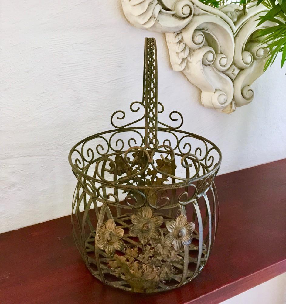 Bloem metalen mand nostalgie tuin decoratie draad mand for Metalen decoratie fiets
