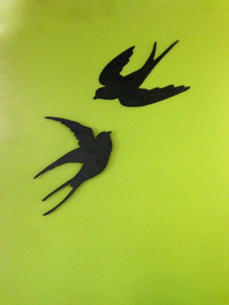 Slik, decoratie met zwaluwen, vogel decoratie, metalen wanddecoratie ...