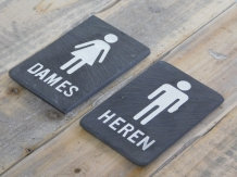 Set wc-bordjes ''Dames'' & ''Heren'' - van leisteen