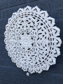 Wand ornament gesneden hout paneel rond old white, S-LAATSTE!!