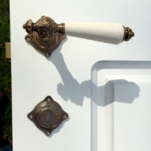 Exquisite messing deurbeslagset mahogany design messing for Klinken voor binnendeuren