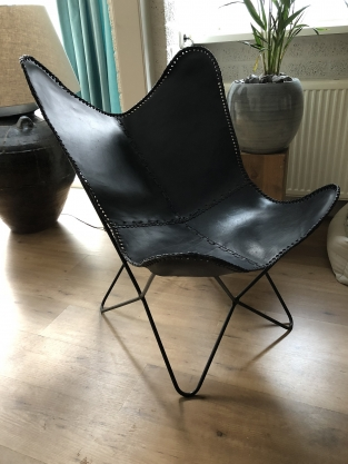 Butterfly Chair Vlinderstoel Leder Black